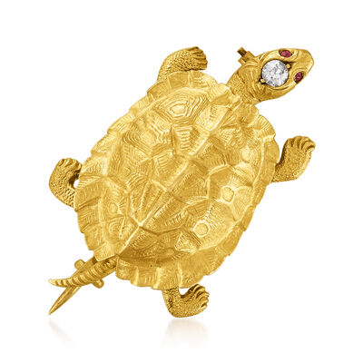 C. 1930 Vintage 18kt Yellow Gold Turtle Pin with Diamond and Ruby Accents