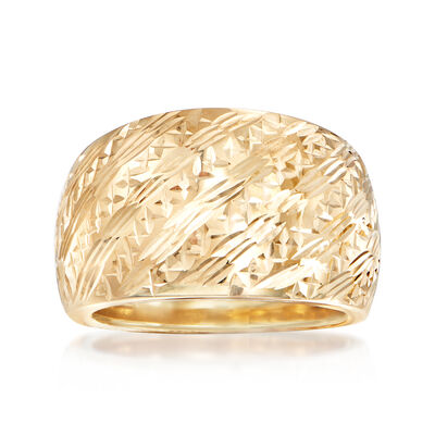 Italian 14kt Yellow Gold Diagonal Diamond-Cut Ring, , default