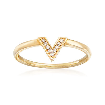 C. 1990 Vintage 14kt Yellow Gold V-Shape Ring with Diamond Accents, , default
