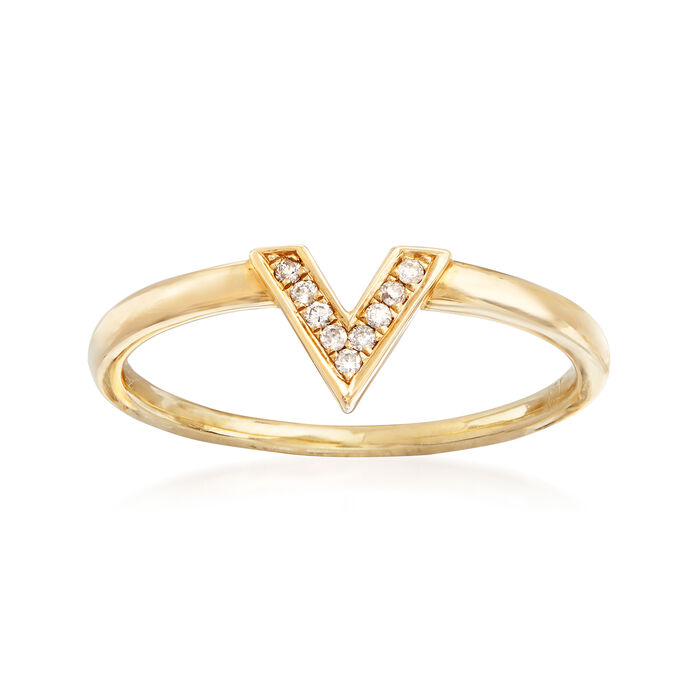 C. 1990 Vintage 14kt Yellow Gold V-Shape Ring with Diamond Accents. Size 7, , default