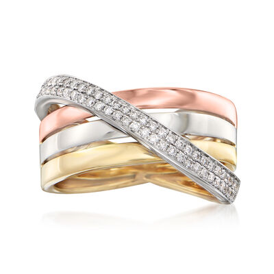.32 ct. t.w. Diamond Crisscross Ring in 14kt Yellow Gold, , default