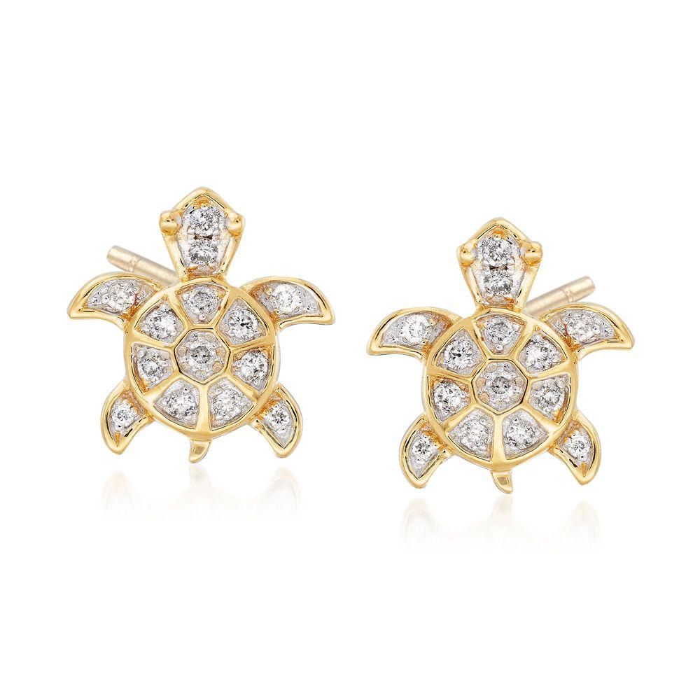 T W Diamond Sea Turtle Earrings In 14kt Yellow Gold Default
