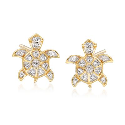 .15 ct. t.w. Diamond Sea Turtle Earrings in 14kt Yellow Gold, , default