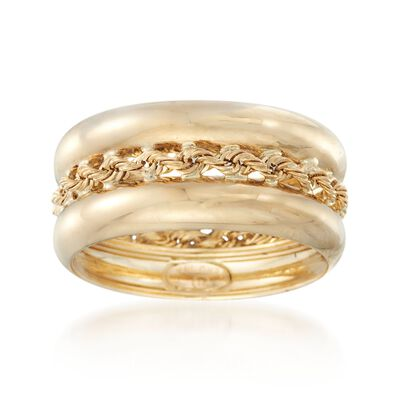 14kt Yellow Gold Roped Ring, , default