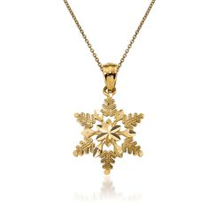 "14kt Yellow Gold Snowflake Pendant Necklace. 18"", , default"