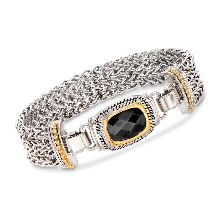Two-Tone Black Onyx Multi-Row Wheat-Link Bracelet, , default
