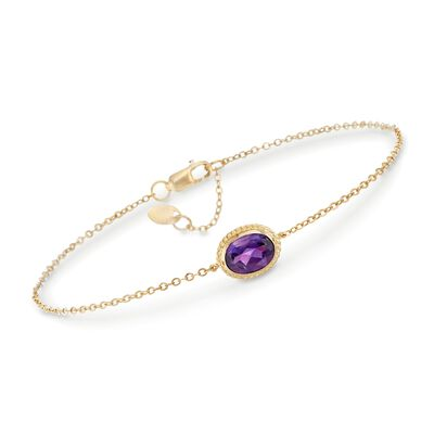 1.10 Carat Amethyst Bracelet in 14kt Yellow Gold, , default