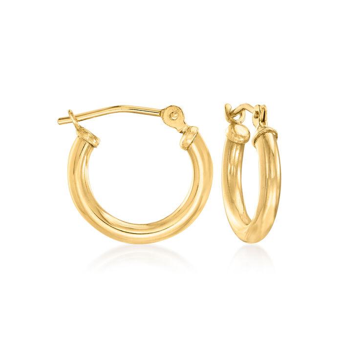 "1.5mm 14kt Yellow Gold Small Hoop Earrings. 1/2"", , default"