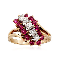 C. 1980 Vintage 1.25 ct. t.w. Ruby and .30 ct. t.w. Diamond Ring in 14kt Yellow Gold, , default