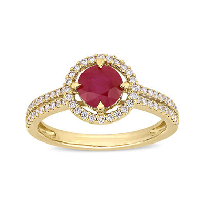 1.18 Carat Ruby and .32 ct. t.w. Diamond Halo Ring in 14kt Yellow Gold