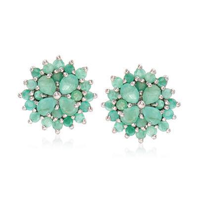 2.10 ct. t.w. Emerald Cluster Post Earrings in Sterling Silver, , default