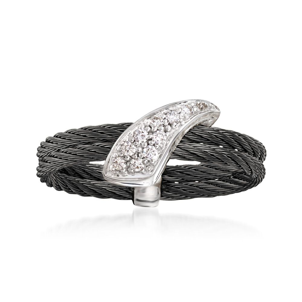 Alor Noir Black Cable Ring With Diamond Accents And 18kt White Wiring Silver Gold Quotnoirquot