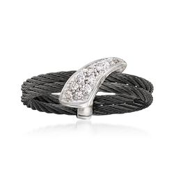 "ALOR ""Noir"" Black Cable Ring With Diamond Accents and 18kt White Gold. Size 7, , default"