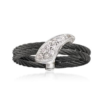 """ALOR """"Noir"""" Black Cable Ring With Diamond Accents and 18kt White Gold. Size 7, , default"""