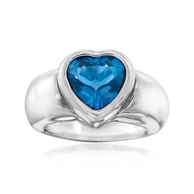 C. 1980 Vintage Piaget 3.85 Carat London Blue Topaz Heart Ring in 18kt White Gold, , default