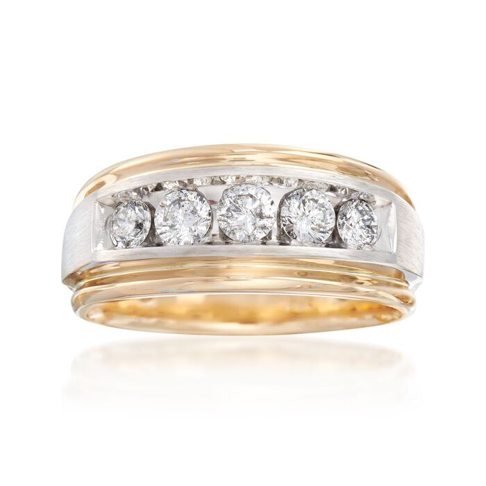 Men's 1.00 ct. t.w. Diamond Wedding Ring in 14kt Two-Tone Gold, , default