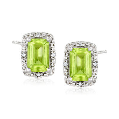 1.20 ct. t.w. Peridot Stud Earrings with Diamond Accents in Sterling Silver