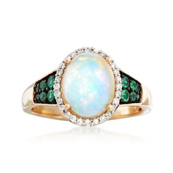 Ethiopian Opal and .18 ct. t.w. Emerald Ring With .14 ct. t.w. Diamonds in 14kt Yellow Gold, , default