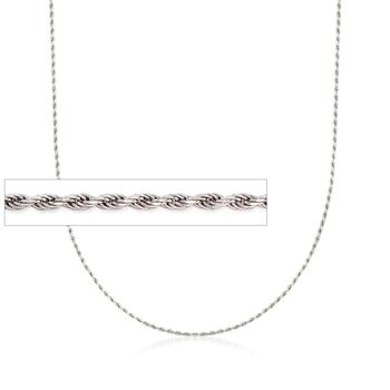 "Italian 1mm Sterling Silver Adjustable Slider Rope Chain Necklace. 24"", , default"