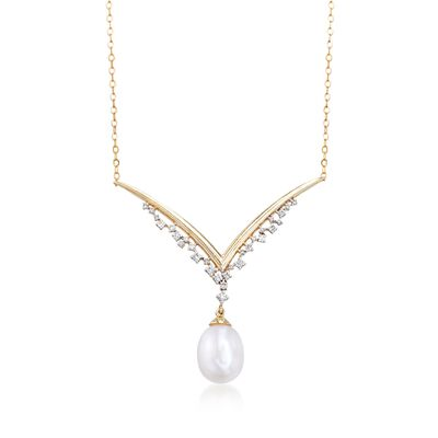 8-8.5mm Cultured Pearl and .10 ct. t.w. Diamond V-Necklace in 14kt Yellow Gold, , default