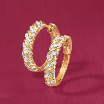 """.50 ct. t.w. Diamond Striped Hoop Earrings in 18kt Yellow Gold. 3/4"""", , default"""