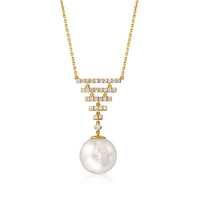 14mm Cultured Pearl and .73 ct. t.w. Diamond Necklace in 14kt Yellow Gold