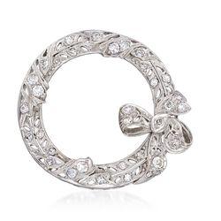 C. 1935 Vintage .95 ct. t.w. Diamond Wreath Pin in Platinum, , default