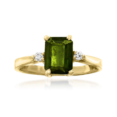 C. 1980 Vintage 1.25 ct. t.w. Green Tourmaline Ring with Diamond Accents in 14kt Yellow Gold
