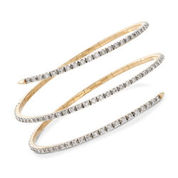 3.00 ct. t.w. Diamond Wrap Bangle Bracelet in 14kt Yellow Gold, , default