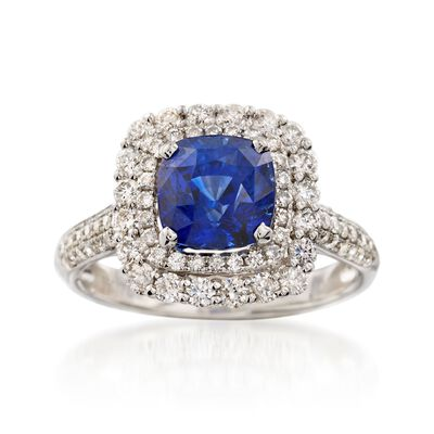 C. 2000 Vintage 2.73 Carat Sapphire and .89 ct. t.w. Diamond Ring in 18kt White Gold, , default