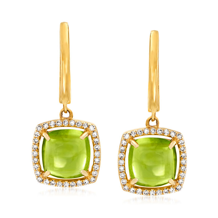 4.30 ct. t.w. Peridot and .18 ct. t.w. Diamond Drop Earrings in 14kt Yellow Gold, , default