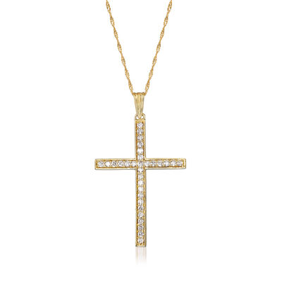 .50 ct. t.w. Diamond Cross Pendant Necklace in 14kt Yellow Gold, , default