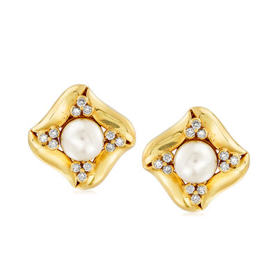 C. 1980 Vintage Cultured Pearl and 1.00 ct. t.w. Diamond Clip-On Earrings in 18kt Yellow Gold, , default