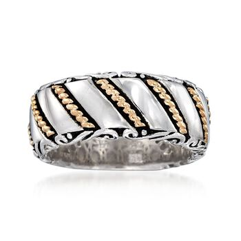 Sterling Silver and 14kt Yellow Gold Multi-Pattern Ring, , default