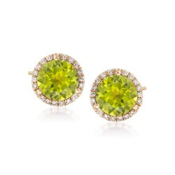 4.00 ct. t.w. Peridot and .21 ct. t.w. Diamond Stud Earrings in 14kt Yellow Gold , , default