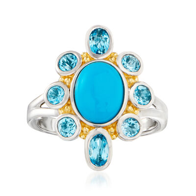 Turquoise and 1.00 ct. t.w. Swiss Blue Topaz Ring in Two-Tone Sterling Silver, , default