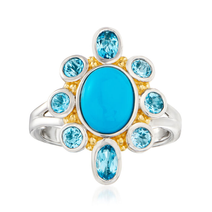 Turquoise and 1.00 ct. t.w. Swiss Blue Topaz Ring in Two-Tone Sterling Silver