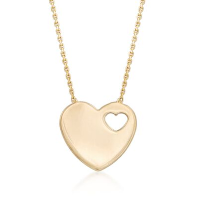 14kt Yellow Gold Heart Cutout Pendant Necklace, , default