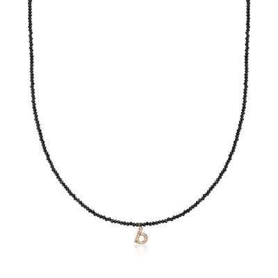 Diamond-Accented Initial and 20.00 ct. t.w. Black Spinel Bead Necklace in 14kt Yellow Gold, , default