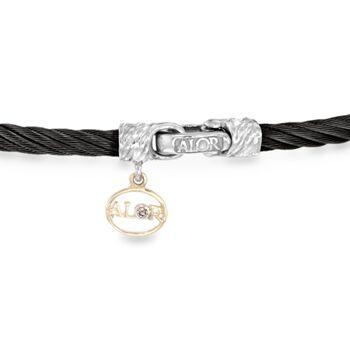 """ALOR """"Noir"""" Black Cable Station Bracelet With Diamond Accent and 18kt White Gold. 7"""", , default"""