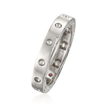 """Roberto Coin """"Pois-Moi"""" 18kt White Gold Dotted Ring. Size 7"""