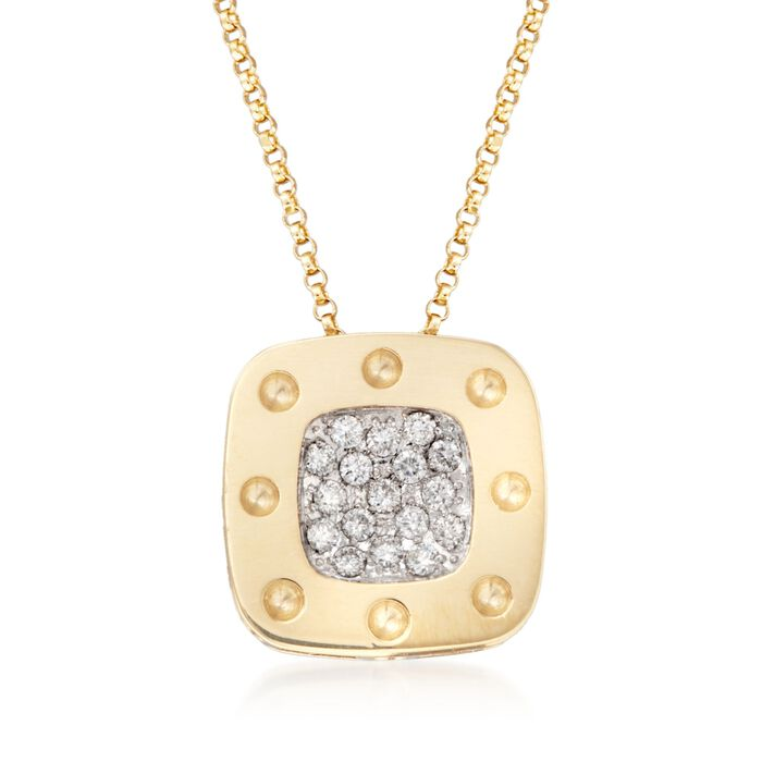 "Roberto Coin ""Pois Moi"" .25 ct. t.w. Diamond Pendant Necklace in 18kt Two-Tone Gold. 16"", , default"