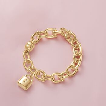 Italian Andiamo 14kt Yellow Gold Charm Bracelet with Magnetic Clasp, , default