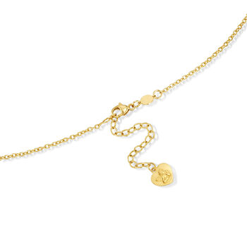 """Italian .30 ct. t.w. Multi-Gemstone Religious Charm Necklace in 14kt Yellow Gold. 15.5"""", , default"""