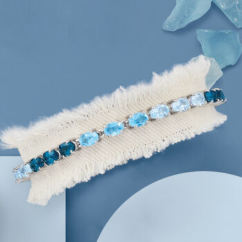 13.00 ct. t.w. Blue Topaz Tennis Bracelet in Sterling Silver, , default