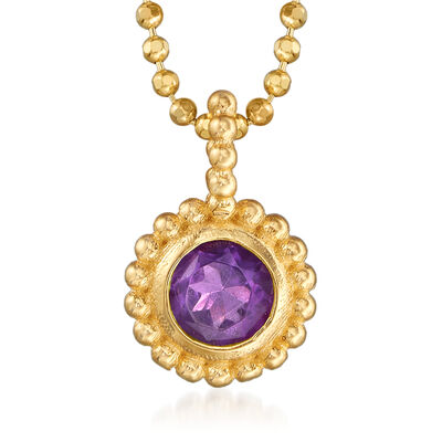 "Phillip Gavriel ""Popcorn"" .20 Carat Amethyst Beaded Necklace in 14kt Yellow Gold, , default"