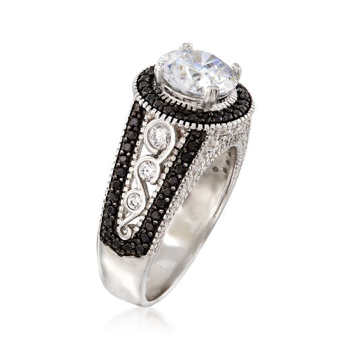 2.20 ct. t.w. CZ and .80 ct. t.w. Black Spinel Ring in Sterling Silver