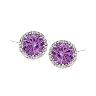 C. 1990 Vintage 10.00 ct. t.w. Amethyst and .85 ct. t.w. Diamond Earrings in 14kt White Gold, , default