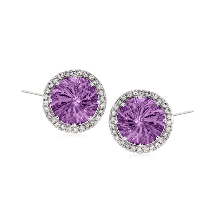 C. 1990 Vintage 10.00 ct. t.w. Amethyst and .85 ct. t.w. Diamond Earrings in 14kt White Gold