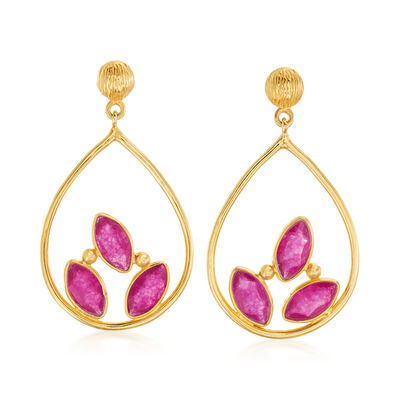 3.00 ct. t.w. Pink Quartz Open Teardrop Earrings in 18kt Gold Over Sterling